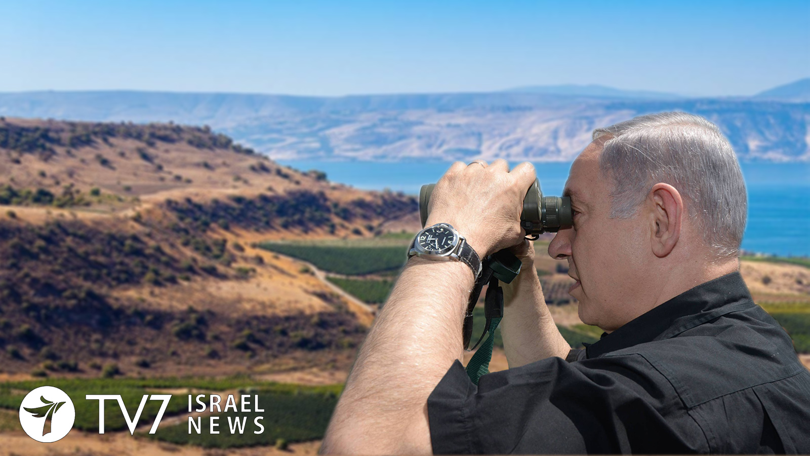 Netanyahu watches over the Golan Heights